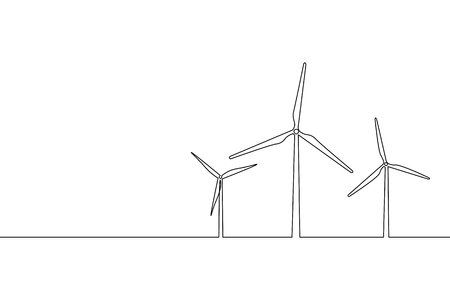 Single continuous line art wind generator. Save ecology green energy electricity. Windmill tower one sketch outline drawing vector illustration