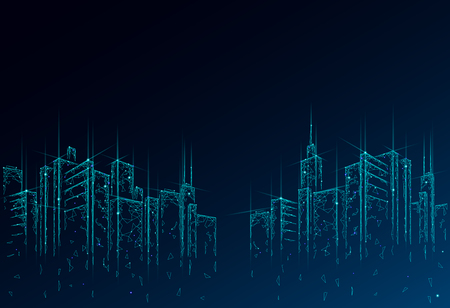 Malla de alambre 3D de ciudad inteligente de baja poli. Concepto de negocio de sistema de automatización de edificios inteligente. Fondo de patrón de borde de rascacielos altos. Ilustración de vector de tecnología de paisaje urbano de arquitectura. Ilustración de vector