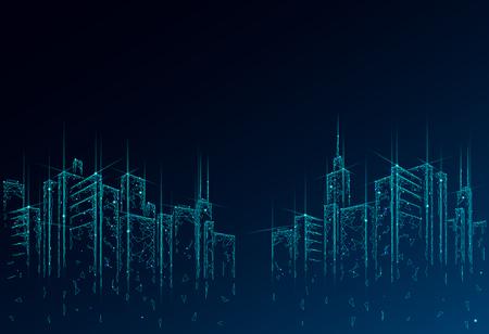 Rete metallica 3D per smart city low poly. Concetto di business del sistema di automazione degli edifici intelligente. Fondo del modello del confine di alti grattacieli. Illustrazione di vettore di tecnologia di paesaggio urbano urbano di architettura. Vettoriali