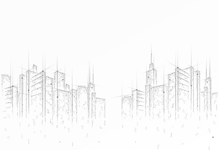 Low poly smart city 3D wire mesh. Intelligent building automation system business concept. High skyscrapers border pattern background. Architecture urban cityscape technology vector illustration. Illustration