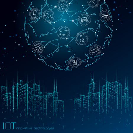 Internet de las cosas malla de alambre 3D de ciudad inteligente de baja poli. Concepto IOT de automatización de edificios inteligente. Arte moderno del ejemplo del vector de la bandera de la tecnología del paisaje urbano del icono del control en línea inalámbrico moderno