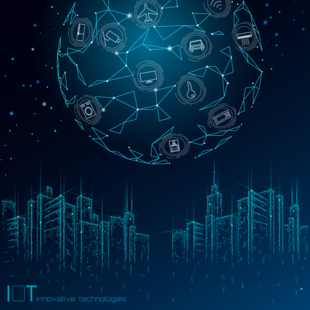 Internet of things low poly smart city 3D wire mesh. Intelligent building automation IOT concept. Modern wireless online control icon urban cityscape technology banner vector illustration art