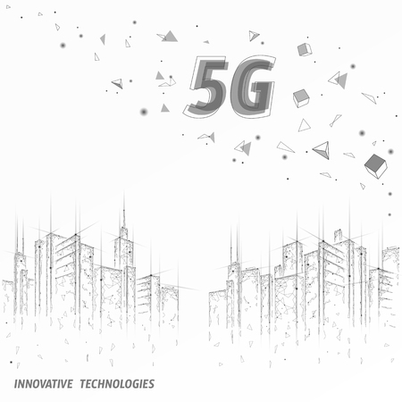 5G new wireless internet wifi connection. Urban buildings cityscape. Global network high speed innovation connection data rate technology vector illustration