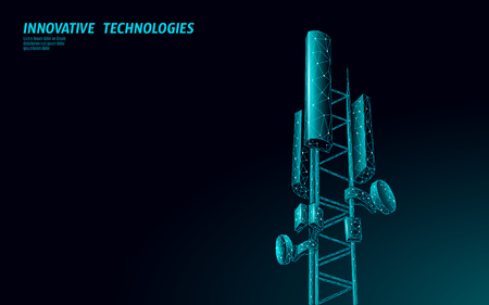 3d base station receiver. telecommunication tower 5g polygonal design global connection information transmitter. Mobile radio antenna cellular vector illustration Ilustração