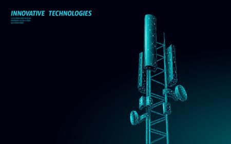 Odbiornik stacji bazowej 3D. wieża telekomunikacyjna 5g wielokątny projekt globalny nadajnik informacji o połączeniu. Ilustracja wektorowa komórkowej anteny radiowej