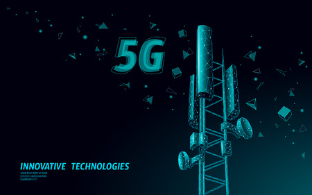 3d base station receiver. telecommunication tower 5g polygonal design global connection information transmitter. Mobile radio antenna cellular vector illustration Illustration