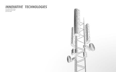 3d base station receiver. telecommunication tower 5g polygonal design global connection information transmitter. Mobile radio antenna cellular vector illustration Stock Photo