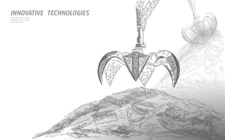 Griffe de bras de grue de déchets 3D. Bannière écologique industrielle de décharge d'ordures polygonale low poly. Illustration vectorielle de planète pollution mondiale grabber écologie.