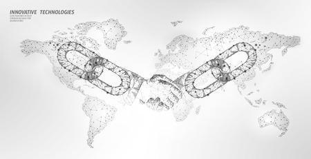 Blockchain technology agreement handshake business concept low poly. Polygonal point line geometric design. Hands chain link internet hyperlink connection blue vector illustration Vecteurs