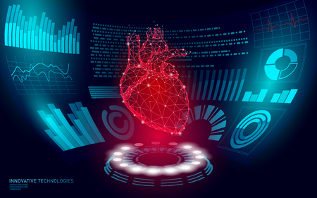 Docteur d'affichage HUD de coeur humain 3D low poly en ligne. Examen Web du laboratoire de médecine de la future technologie. Diagnostic des maladies du système sanguin illustration vectorielle futuriste de l'interface utilisateur