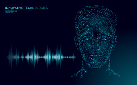 Spracherkennungsdienst-Technologie für virtuelle Assistenten. Unterstützung für KI-Roboter mit künstlicher Intelligenz. Chatbot männlicher Mann Gesicht Low-Poly-Vektor-Illustration