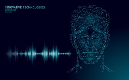 Tecnología de servicio de reconocimiento de voz de asistente virtual. Soporte de robot de inteligencia artificial AI. Ilustración de vector de baja poli cara de hombre hombre chatbot