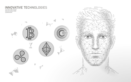 Low poly Bitcoin cryptocurrency trade concept. Male face handsome successful man. Personal financial data money innovation technology. 3D polygonal profit investment vector illustration
