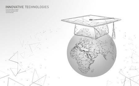 E-learning远程研究生证书项目概念。低多边形3D渲染毕业帽的行星地球世界地图横幅模板。网络教育课程学位向量图解