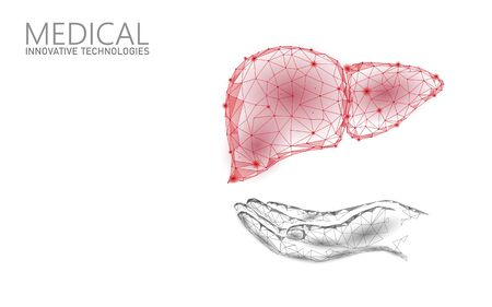 Medical symbol liver doctor online concept. Medical consultation app. Web healthcare diagnosis drugstore network banner. Delivery market background low poly vector