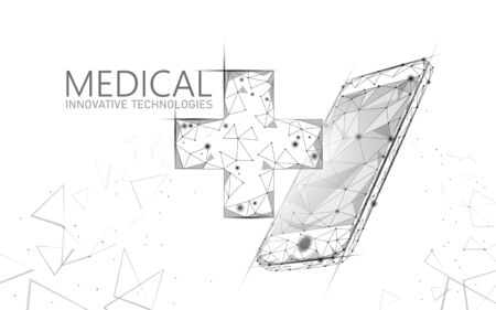 Medical cross symbol doctor online concept. Medical consultation app. Web healthcare diagnosis geometric modern hospital network banner. Calling pharmacy market background low poly Stock Illustratie