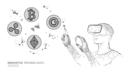 Male modern trader manage blockchain system. Virtual reality assistance administration data operation. 3D VR headset augmented reality glasses finance online digital banner vector illustration Stock Illustratie