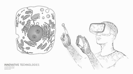 Modern medicine virtual reality cell healing. Artificial cell 3D synthesis animal human designer cell biochemistry. GMO bioethics solution vector illustration Illustration