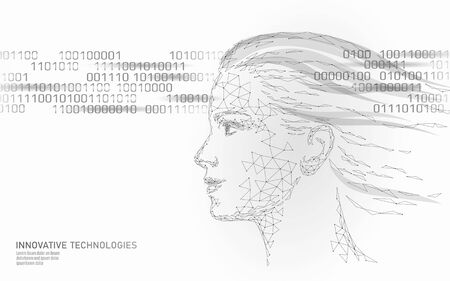 Low poly female human face biometric identification. Recognition system concept. Personal data secure access scanning innovation technology. 3D polygonal rendering vector illustration Stock Illustratie