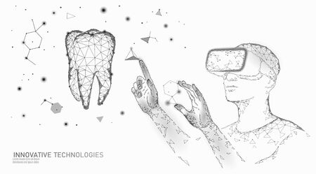 3d tooth innovation virtual reality polygonal concept. Stomatology symbol low poly triangle. Abstract oral dental medical care business. Connected dot particle modern vector illustration Vetores