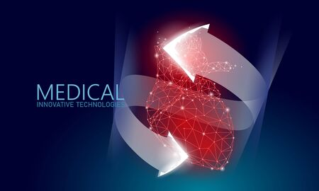 Total healthy heart beats 3d medicine low poly concept. Triangle red pharmacy drugstore background. Glowing arrows modern innovative technology heart recovery reconstruction vector illustration