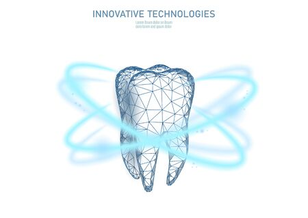 Low poly tooth protection medical concept. Whitening toothpaste enamel reconstruction healthcare. Polygonal healthy dentistry procedure glowing circle around tooth vector illustration Illusztráció