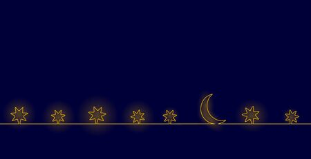 Single continuous one line art moon night. Sleep wall stars sky concept design sketch. Relax recreation starry evening holiday outline drawing vector illustration Illustration
