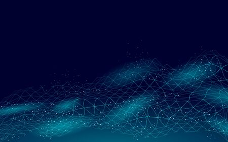 Abstract digital landscape 3D blue background. Information code flow data analysis concept. Modern grid mesh scape particle connected dots vector illustration.  イラスト・ベクター素材
