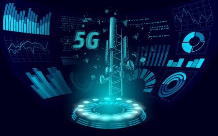3d base station receiver. telecommunication tower 5g polygonal HUD display global connection information transmitter. Mobile radio antenna cellular vector illustration