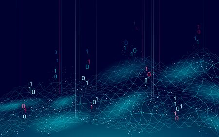 Abstract digital landscape 3D blue background. Information code flow data analysis concept. Modern grid mesh scape particle connected dots vector illustration