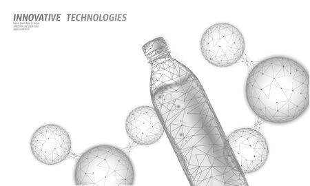3D water bottle polygonal banner. Aqua liquid package. Plastic transparent drink full beverage clean natural artesian drinking water. Low poly white modern design vector illustration.