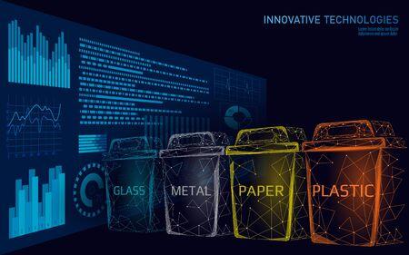 Konzept der Low-Poly-Abfalltrennung 3D. Müll recyceln Kunststoff-Aluminium-Papier-Glas-Behälter. Polygonale ökologische Kampagne zur Rettung des Planeten. Städtische Müllbewegungsbanner-Vektorillustration