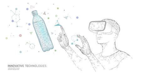 Water bottle quality test science engineering concept. Lab control research analysis innovation technology low poly. Virtual reality chemistry clean water medical experiment vector illustration  イラスト・ベクター素材