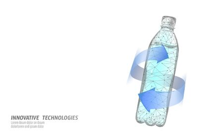 3D water bottle polygonal banner. Aqua liquid package. Plastic transparent drink full beverage clean natural artesian drinking water. Low poly white modern design vector illustration.