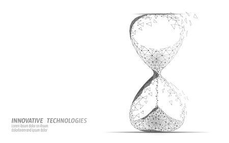 Sablier 3D low poly concept de temps de vie sombre. Heures limites actuelles, futures et passées révolues. Valeur du débit du flux de temps. Illustration vectorielle d'opportunité créative pour le calendrier des idées