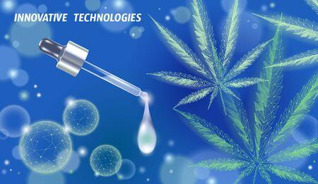 Low poly 3D medical marijuana oil leaf. Legalize medical pain treatment concept. Cannabis weed medicine glass bottle symbol. Pipette transparent realistic prescription vector illustration Illustration