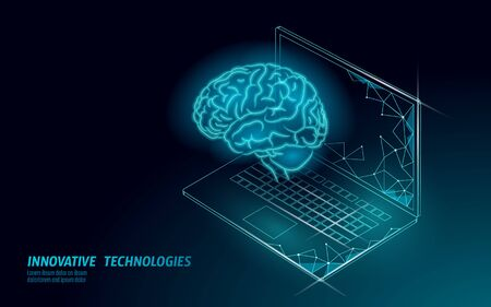 Virtual assistant voice recognition service technology. AI artificial intelligence robot support. Chatbot brain on laptop system low poly vector illustration Illustration