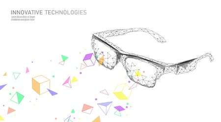 Virtual augmented reality glasses low poly. Innovation media entertainment polygonal concept. Technology web connection cinema 3D vector illustration Illustration