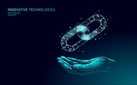 Blockchain on hand business symbol concept. Chain connection network finance information security. 3D low poly polygonal geometric design. Global technology e-commerce online vector illustration