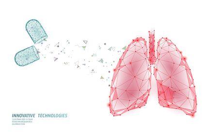 Concept de traitement de médecine des poumons humains 3D. L'infection par le virus respiratoire annule le danger. Pilule capsule thérapie médicamenteuse tuberculose hôpital affiche modèle vector illustration Vecteurs