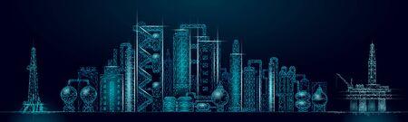 Komplexes Panorama-Geschäftskonzept der Erdölraffinerie. Finanzwirtschaft polygonale petrochemische Produktionsanlage. Erdölbrennstoffindustrie wird Pipeline. Ökologie Lösung blaue Vektor-Illustration.