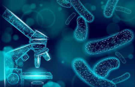 Mikroskop bakteryjny Probiotyki 3D low poly render. Zdrowa normalna flora trawienna produkcji jogurtu ludzkiego jelit. Nowoczesna nauka medycyna odporność na alergie ilustracja wektorowa teatru