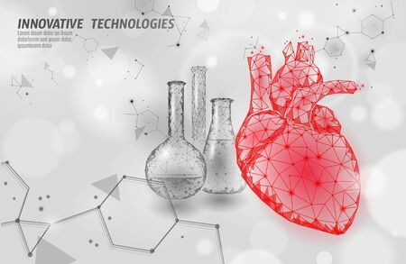 Heart science glass 3d medicine low poly concept. Triangle red pharmacy drugstore background. Modern drug treatment recovery meds vector illustration