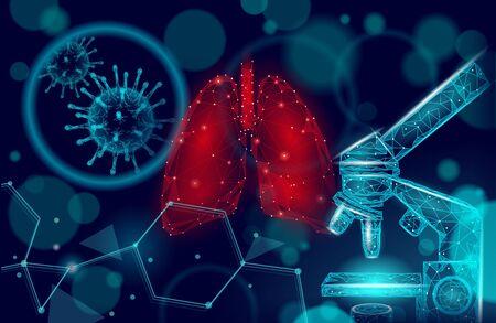 Concept de recherche microscopique en médecine des poumons humains 3D. Analyse du danger de cancer de l'infection par le virus respiratoire. Thérapie de l'illustration vectorielle du modèle d'affiche de l'hôpital de la tuberculose.