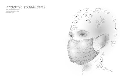 Woman face mask. Infection pneumonia prevention healthcare. 3D low poly female human white banner. Wear surgical medical mask against virus epidemic vector illustration Illustration