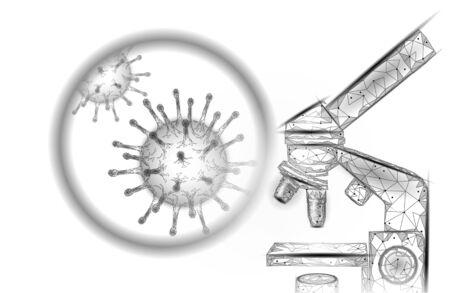 Microscope virus 3D low poly render. Laboratory analysis infection virus influenza flu pneumonia