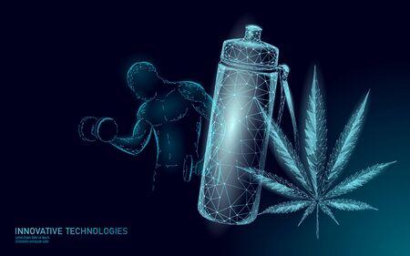 Concept de boisson sportive en protéine de chanvre 3D. Poudre à base de plantes de régime de complément nutritionnel de musculation. Produit végétalien weed superfood nutriment low poly illustration vectorielle.