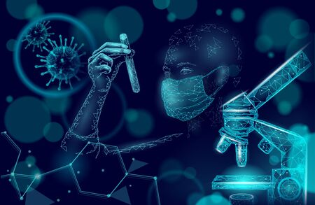 Woman doctor scientists hold test tube. Safety medical mask virus microscope vaccine. Developing pandemic coronavirus pneumonia treatment. Healthcare immunization research vector illustration Ilustrace