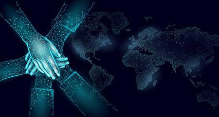 World global unity business concept. Together against problem. Teamwork international solution human protection. Multicultural organisation worldwide vector illustration map