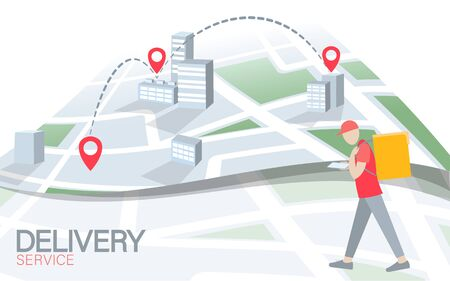 Walking delivery box with smartphone point map. Walk road food shipping mobile app order. Package quarantine thermal bag backpack dinner meal. Fast delivery concept vector illustration.